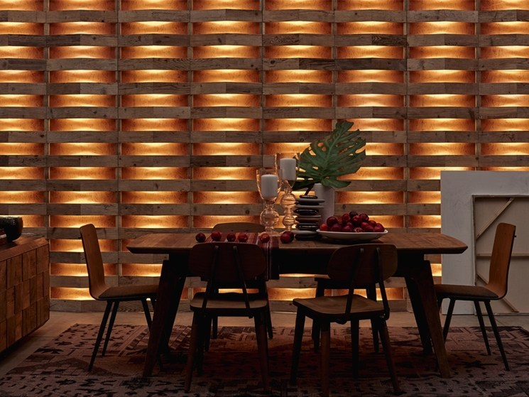 Indoor reclaimed wood wall tiles DB004166 | Wall tiles by Dialma Brown