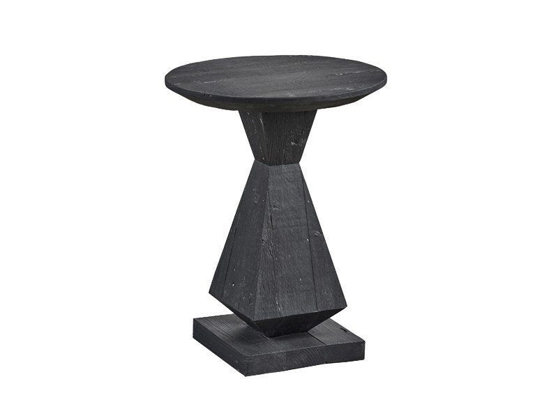 Lacquered round pine side table DB004437 by Dialma Brown