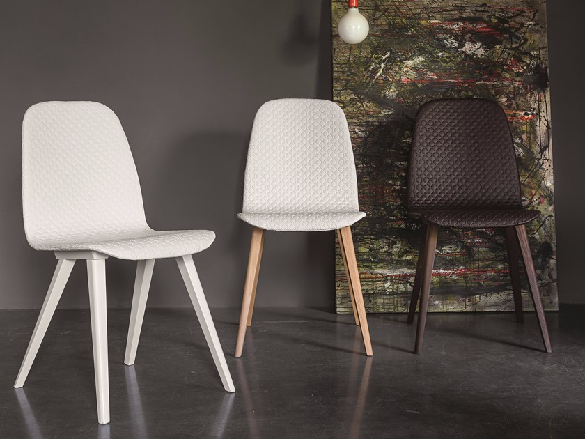 Upholstered imitation leather chair DEBBY by Dall'Agnese