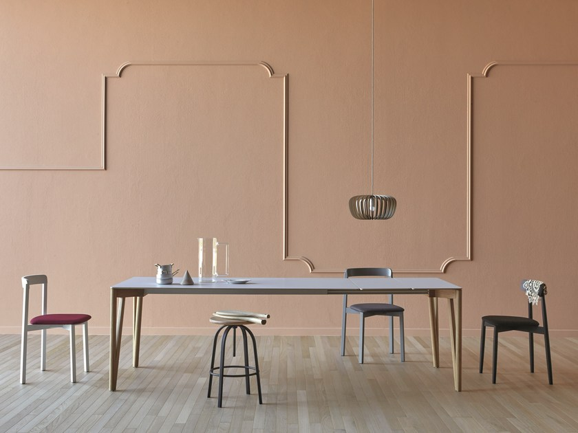 Extending rectangular aluminium dining table DECAPO by Miniforms