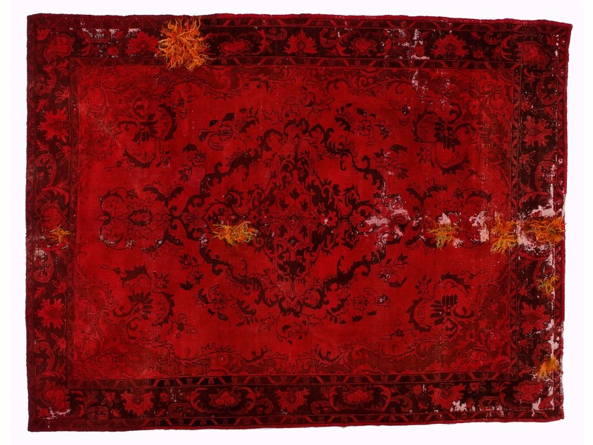 Vintage style handmade rectangular rug DECOLORIZED MOHAIR RED by Golran