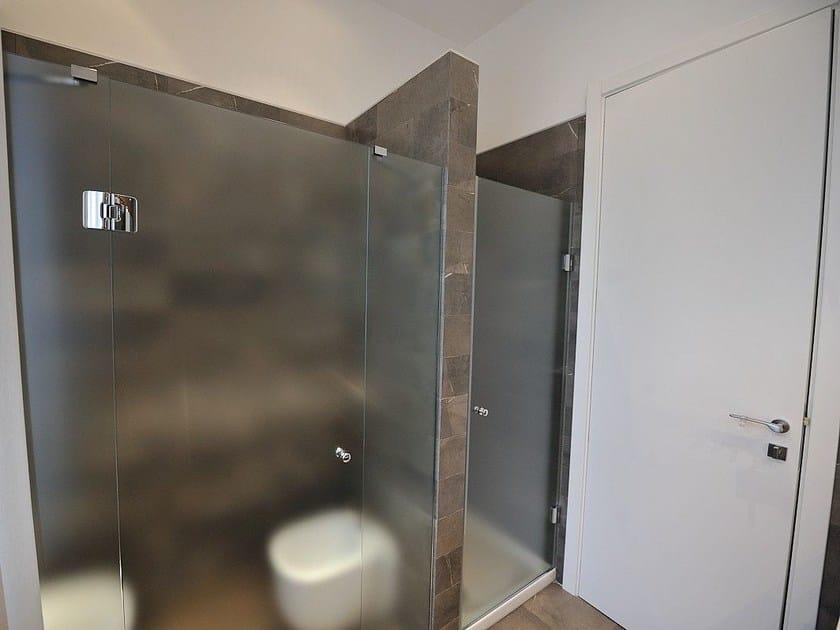 Satin glass shower door DECORFLOU® CLASSIC by OmniDecor®