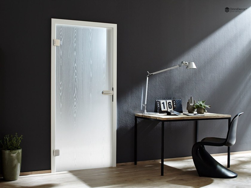 Decorated glass door DECORFLOU® DESIGN NANTAHALA by OmniDecor®