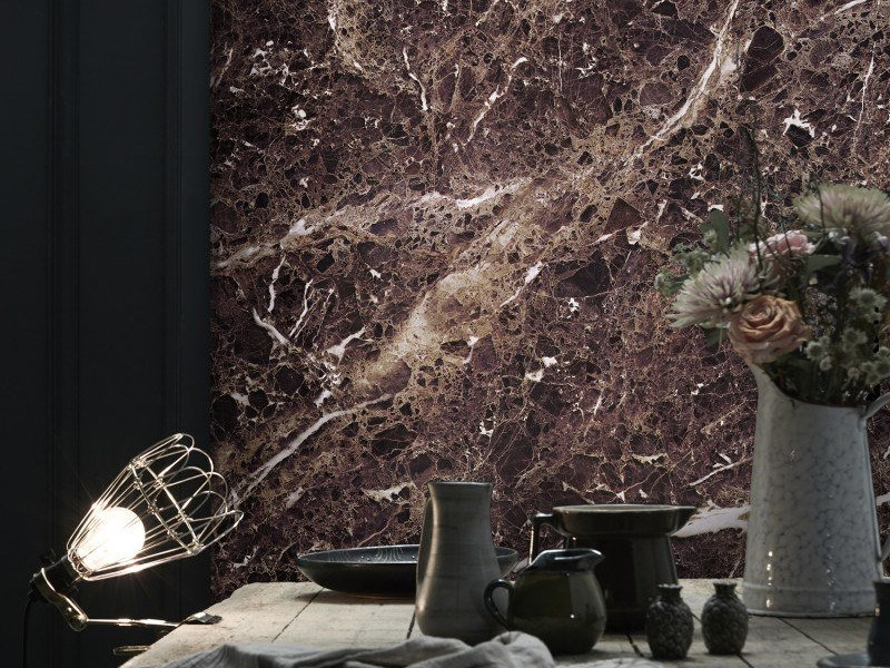 Washable panoramic wallpaper with marble effect DEEP PURPLE EMPERADOR MARBLE | Panoramic wallpaper by Koziel