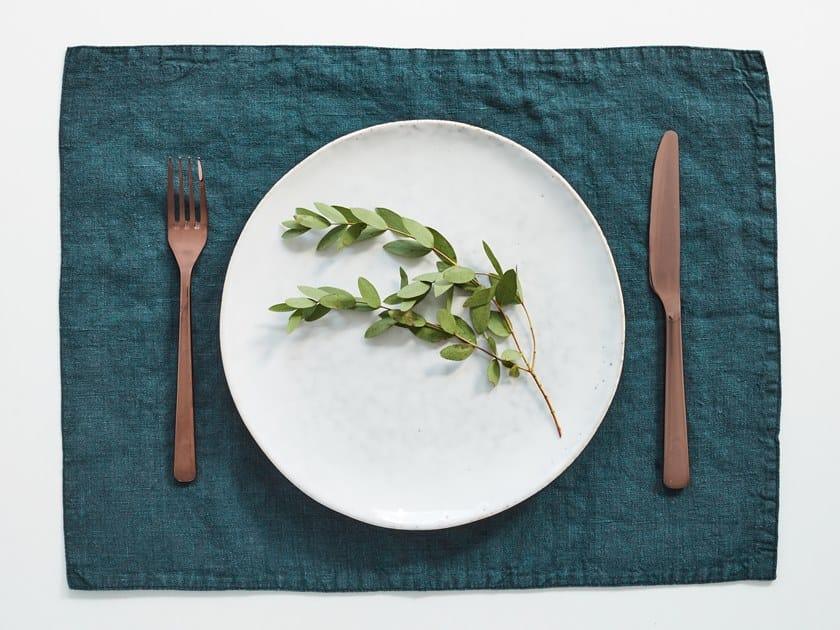 Rectangular linen placemat DEEP WATER | Placemat by Linen Tales