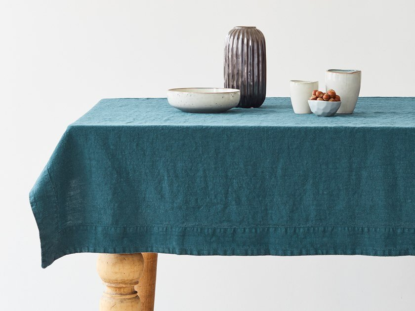 Linen tablecloth DEEP WATER | Tablecloth by Linen Tales
