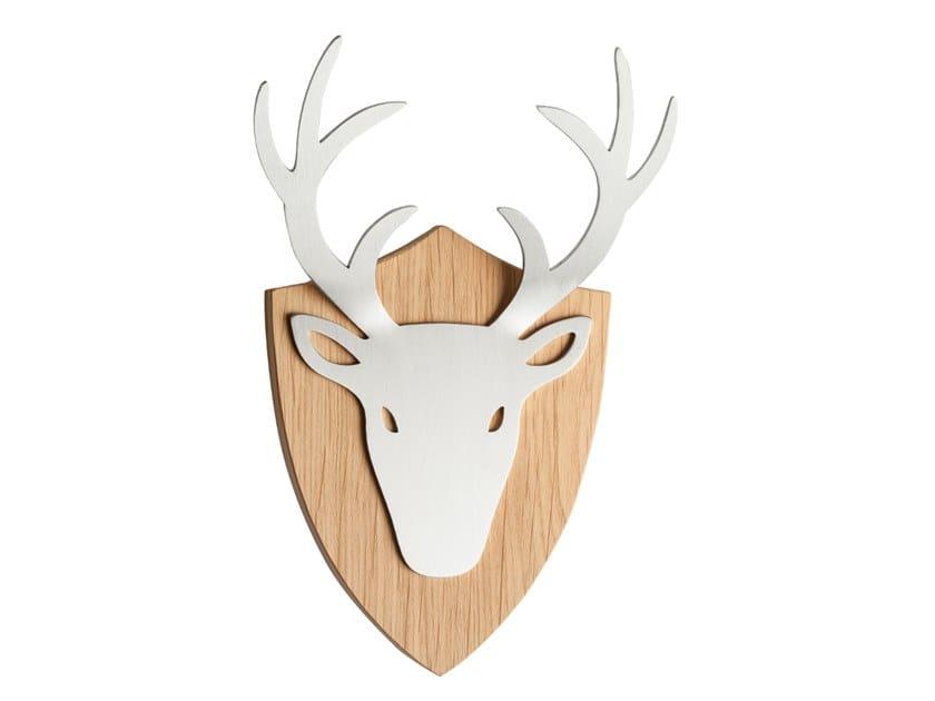 Wall-mounted steel and wood coat rack DEER HOOK DELUXE by designimdorf