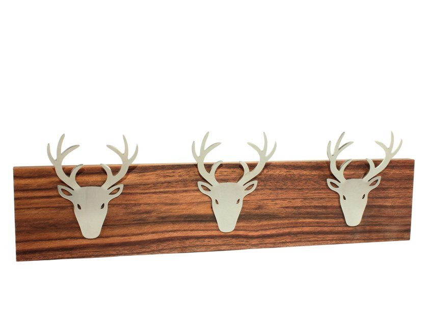 Steel and wood coat rack / key cabinet DEER HOOK by designimdorf
