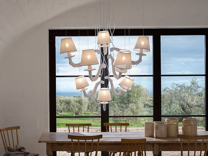 Indirect light ceramic chandelier DEJA-VU by Karman
