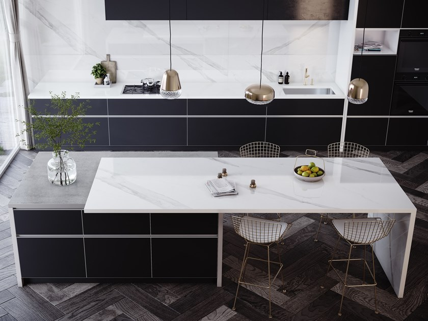 Furniture foil with marble effect DEKTON® OLIMPO by Cosentino