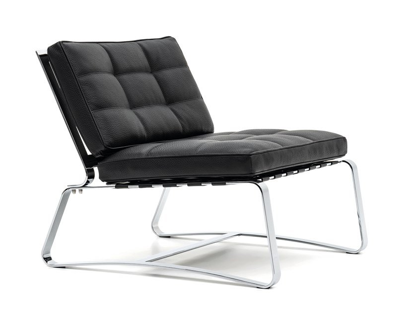 Sled base tufted leather armchair DELAUNAY QUILT | Leather armchair by Minotti
