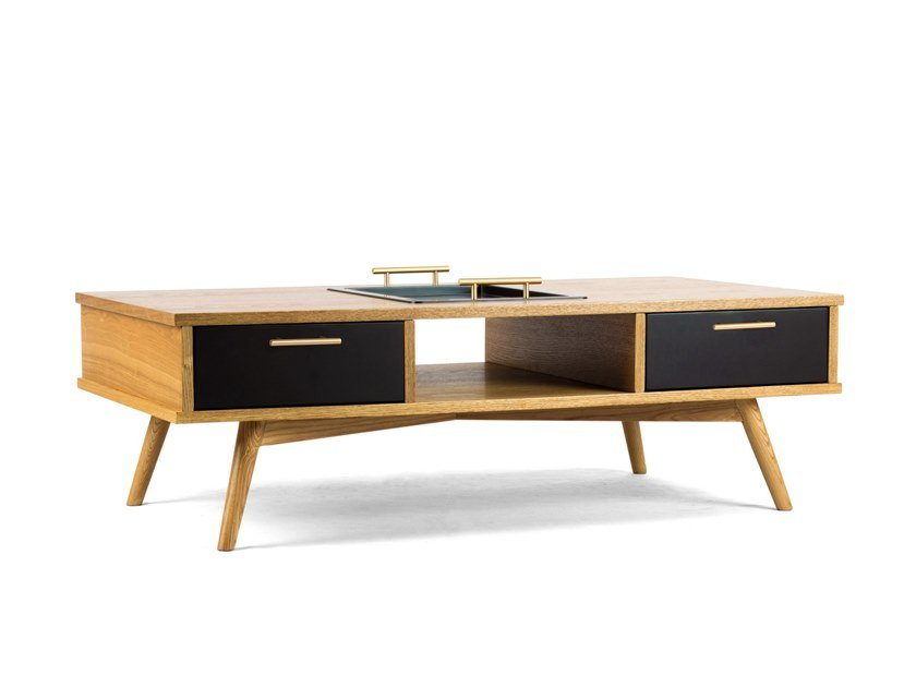 Rectangular wooden coffee table with tray DELIOS by meeloa