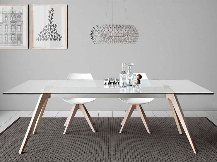 Extending rectangular wood and glass table DELTA by PIANCA