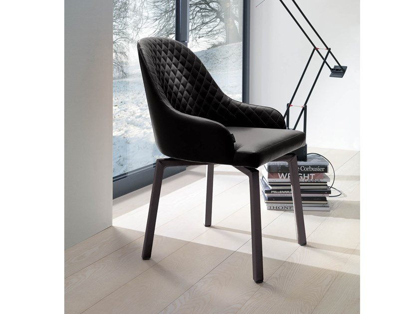 Upholstered chair with armrests DEMETRA by Ozzio Italia