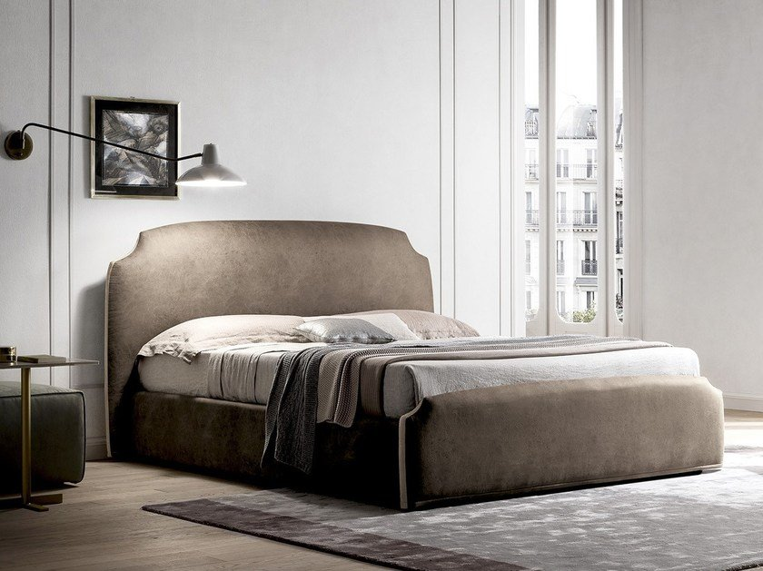 Fabric storage bed with upholstered headboard DEMY by Felis
