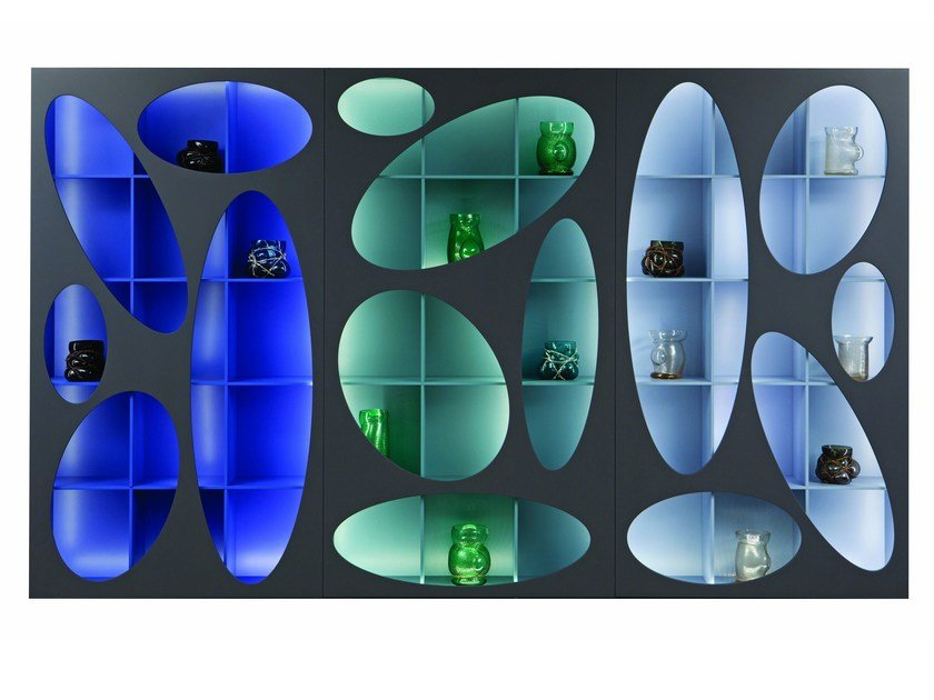 Open bookcase with built in lights denia by roche bobois design