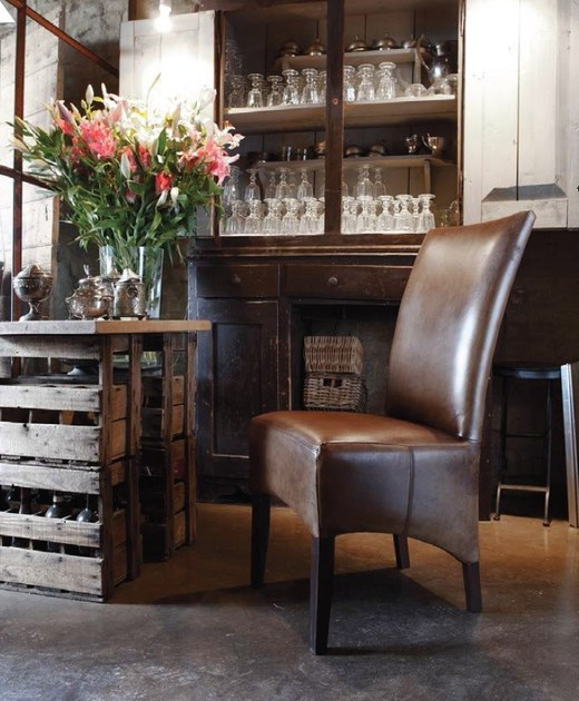 High-back upholstered leather chair DENVER   Leather chair by Devina Nais