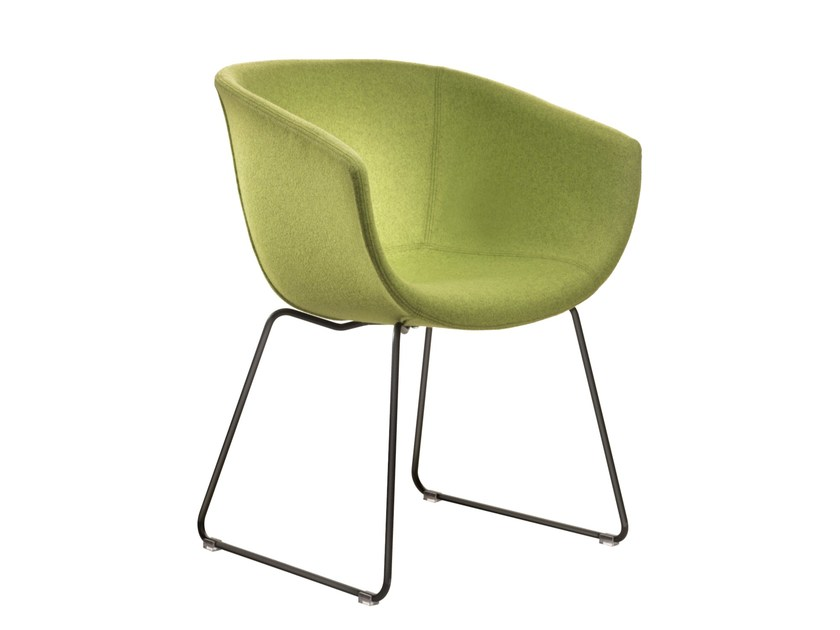 Sled base upholstered fabric chair DERBY I0030 by Segis