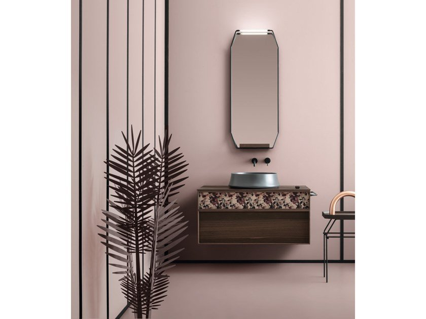 Suede wall mounted vanity unit suede collection by cerasa