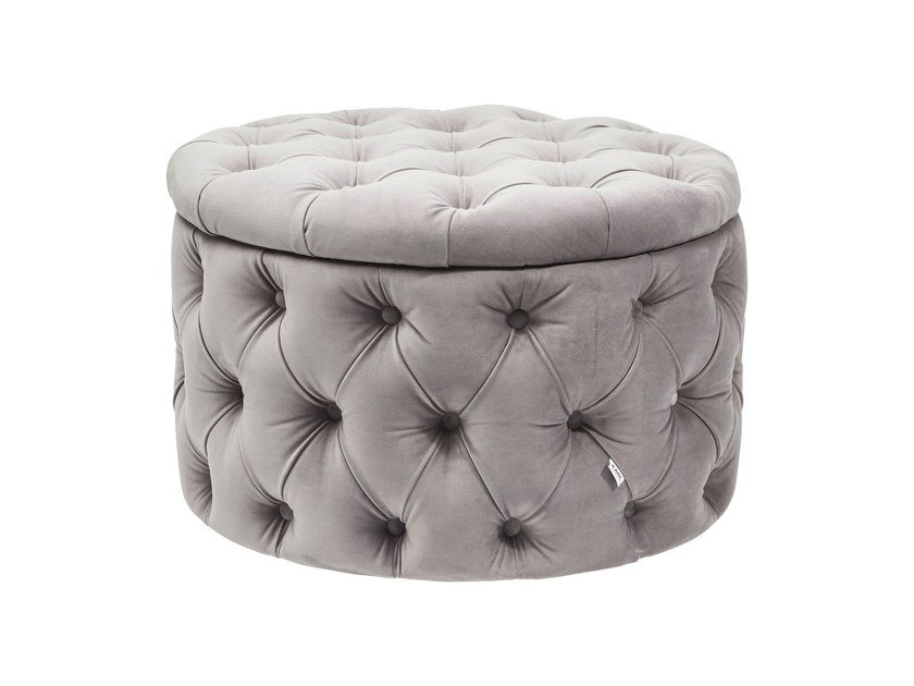 Tufted storage fabric pouf DESIRE | Storage pouf by KARE-DESIGN