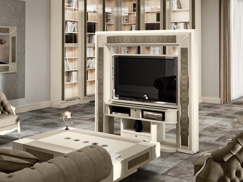 Double-sided swivel TV cabinet with cable management DESIRE REVOLVING by Vismara Design