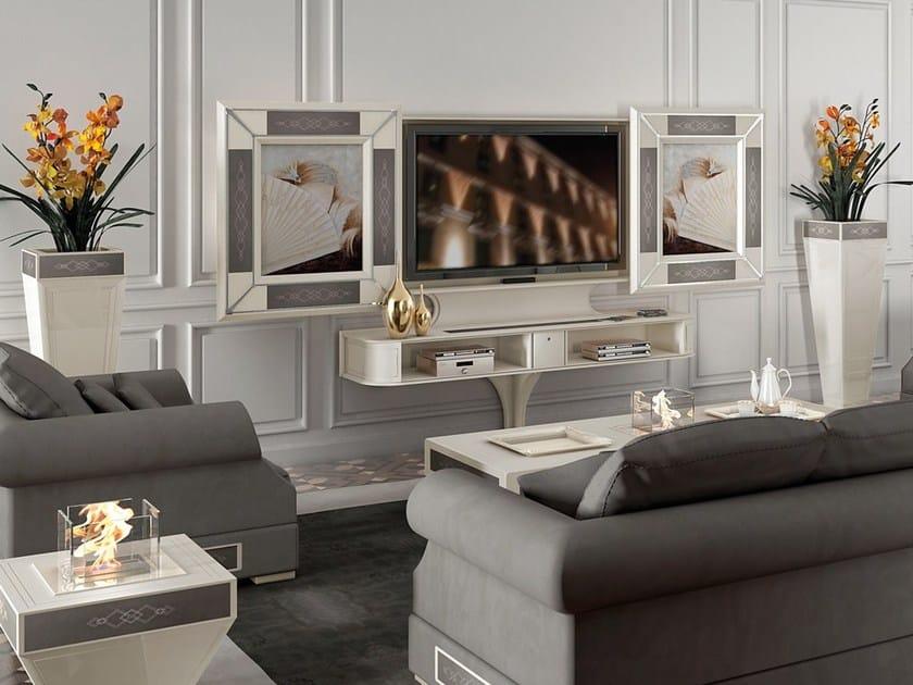 Lacquered motorized TV cabinet with sliding doors DESIRE SLIDING by Vismara Design
