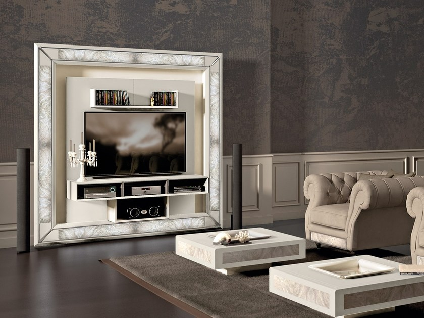 Porta Parete Integrata Tv Attrezzata Frame Design Vismara Con Desire Illuminazione The CBxoWrde
