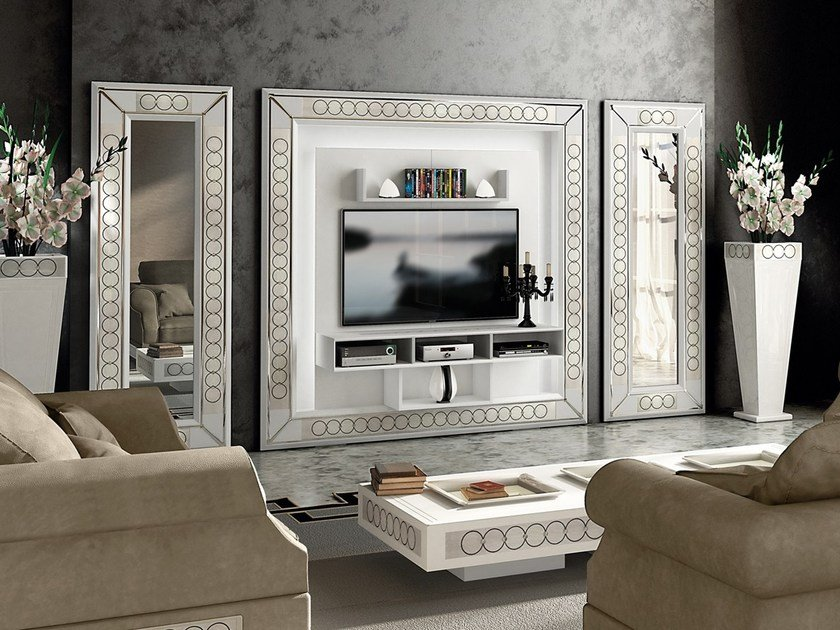 TV wall system with integrated lighting DESIRE THE FRAME by Vismara Design