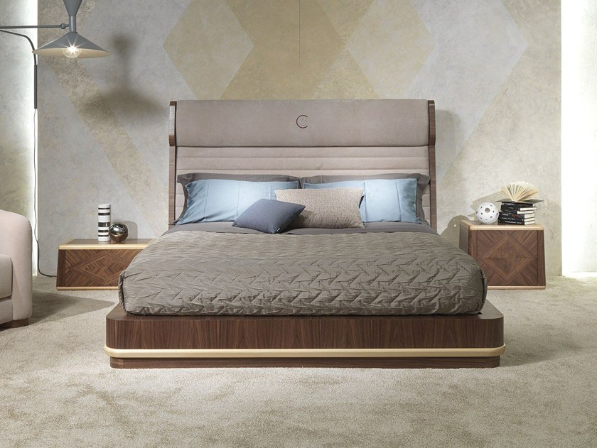 Contemporary style wooden bed with high headboard with upholstered headboard GALILEO | Bed with high headboard by Carpanelli Contemporary