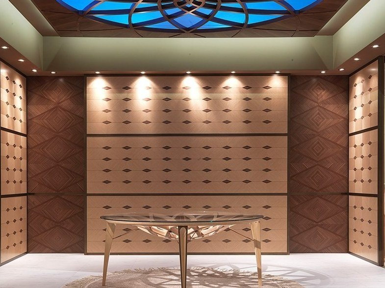Contemporary style freestanding custom wooden storage wall boiserie galileo by Carpanelli Contemporary