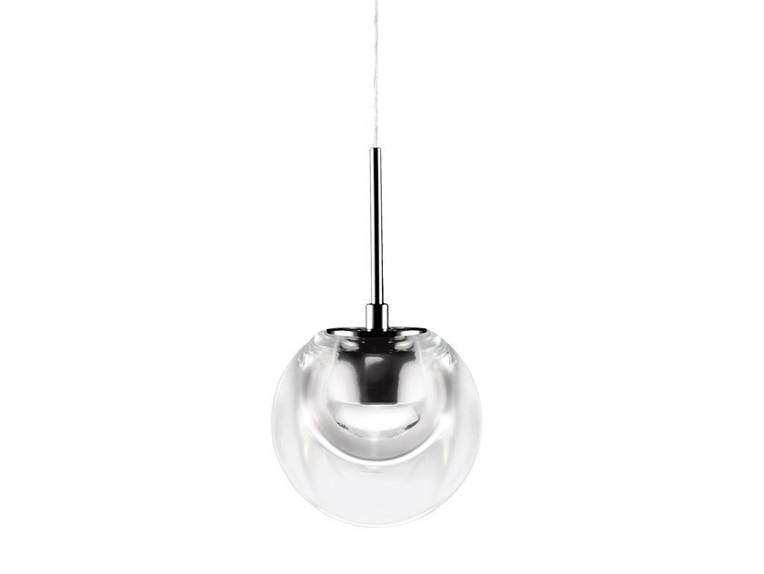 LED glass and aluminium pendant lamp DEW by KUNDALINI