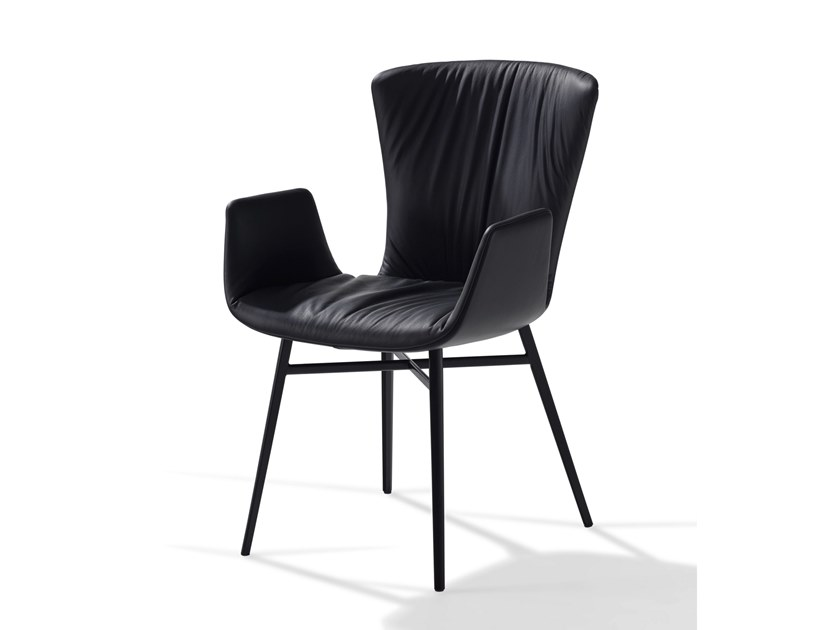 Leather chair with armrests DEXTER | Chair by Draenert