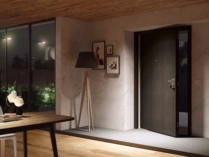 DI.BIG Porta blindata a bilico Di.Big con rivestimento interno decorativo