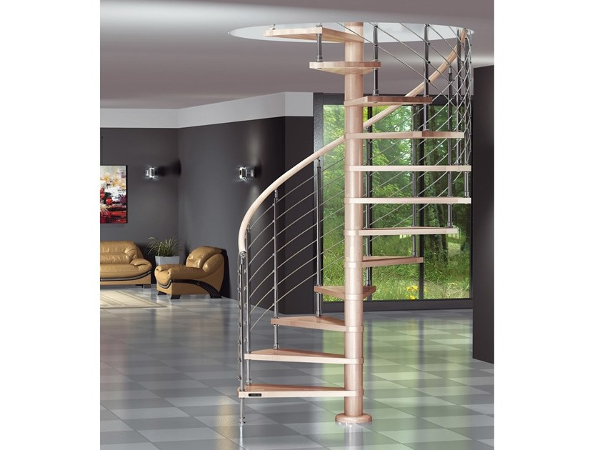 Beech Spiral staircase DIABLE T - MT by MOBIROLO
