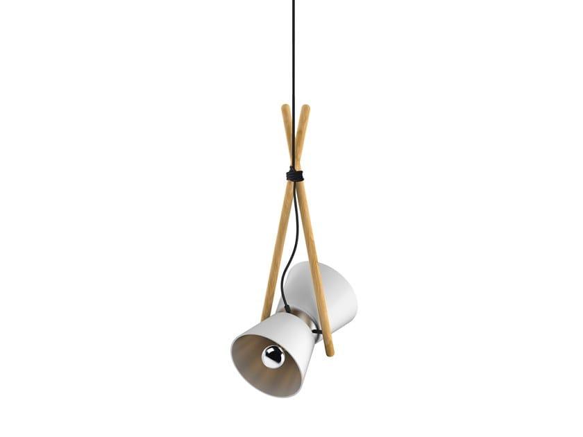 LED direct-indirect light swivel beech pendant lamp DIABOLO | Pendant lamp by Lonc