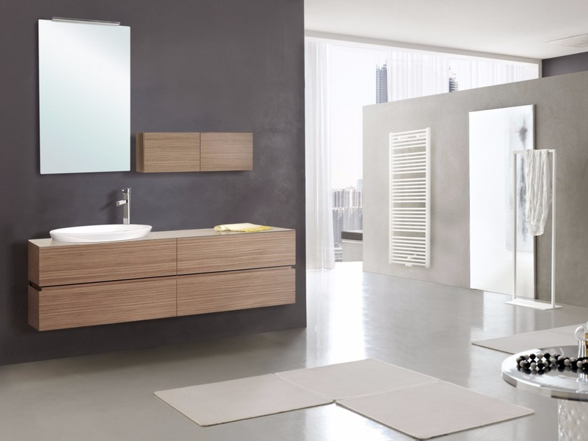 Wall-mounted vanity unit with drawers with mirror DIADEMA CM01DD by LA BUSSOLA