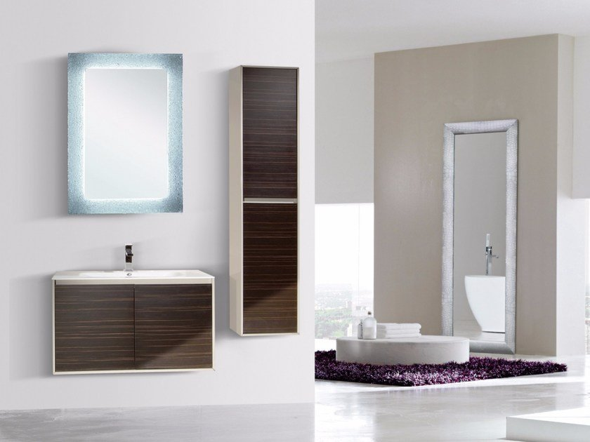 Wall-mounted vanity unit with doors with mirror DIADEMA CM03DD by LA BUSSOLA