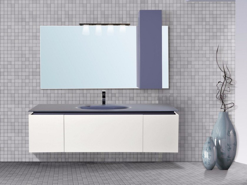 Lacquered wall-mounted vanity unit with drawers DIADEMA CM05DD by LA BUSSOLA