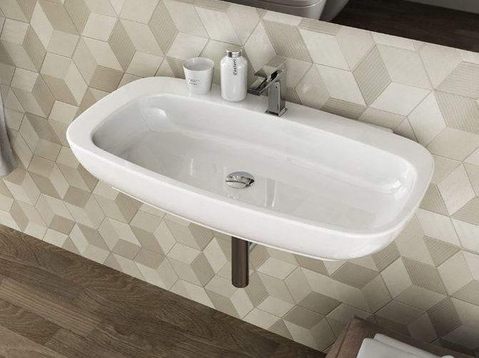 Wall-mounted ceramic washbasin DIAL | Rectangular washbasin by Hidra Ceramica