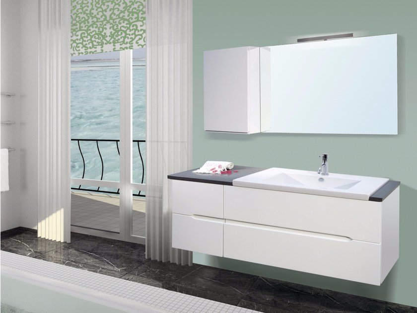 Lacquered wall-mounted vanity unit with mirror DIAMANTE CM02DI by LA BUSSOLA