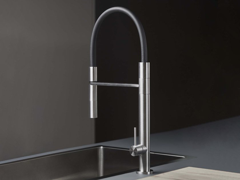 Countertop single handle stainless steel kitchen mixer tap with spray DIAMETRO35 INOX   Kitchen mixer tap with spray by RITMONIO