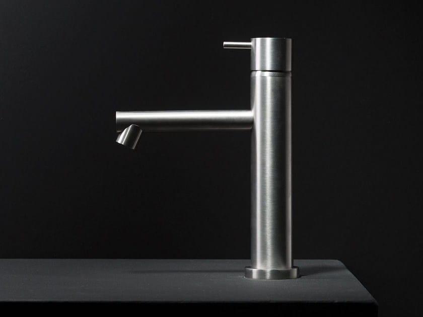Countertop stainless steel washbasin mixer DIAMETRO35 INOX | Single handle washbasin mixer by RITMONIO