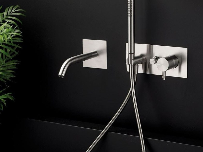 Wall-mounted stainless steel bathtub set with hand shower DIAMETRO35 INOX | Wall-mounted bathtub set by RITMONIO