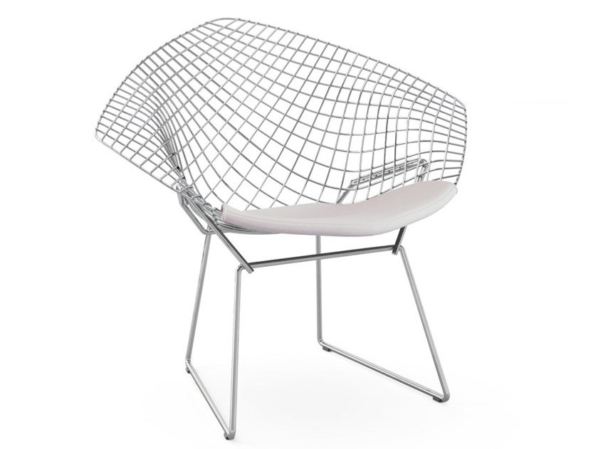 Steel easy chair with integrated cushion BERTOIA DIAMOND | Easy chair by KNOLL