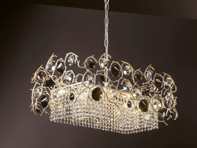 Halogen bronze pendant lamp with crystals DIAMOND | Pendant lamp by Serip
