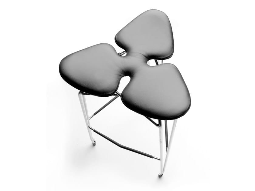 Upholstered leather stool DIAMOND | Leather stool by KUBIKOFF