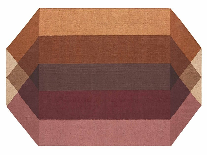 Recycled PET rug with geometric shapes DIAMOND ORANGE-WINE by GAN