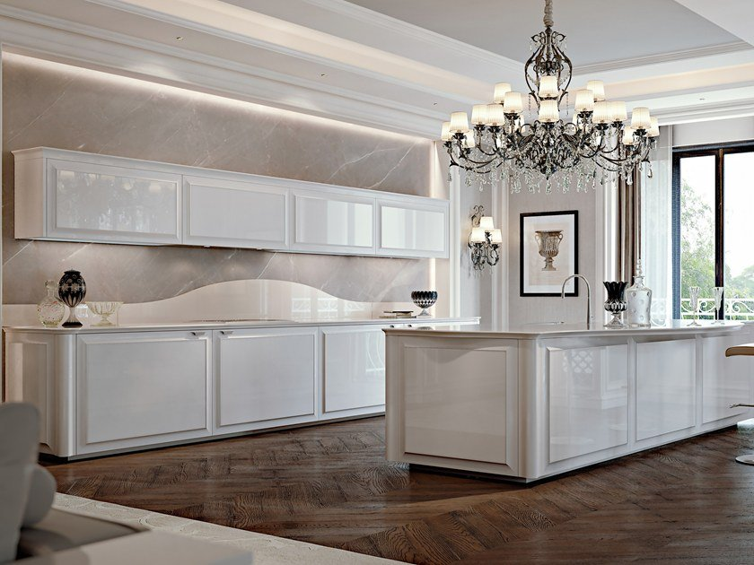 Lacquered wooden fitted kitchen diamond by scic design leo