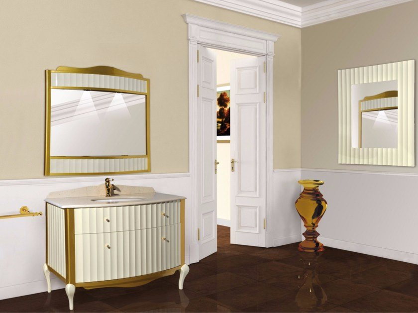 Lacquered vanity unit with drawers with mirror DIANA CM05DA by LA BUSSOLA