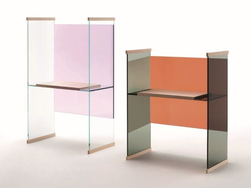 Rectangular crystal writing desk DIAPOSITIVE | Writing desk by Glas Italia